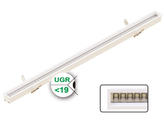 RE50 Series Recessed LED Linear Light (UGR<19)